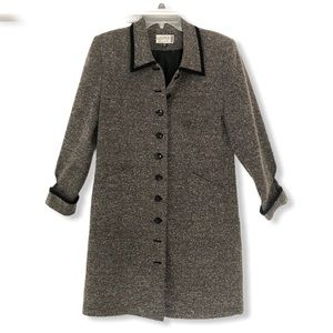Vintage Petite Grey Speckled Collared Pea Coat
